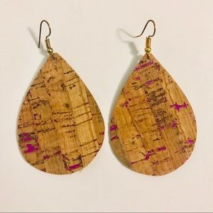 Natural cork with fuschia flecks earrings